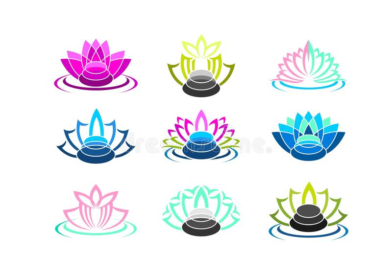 Lotus logo, zenstensymbol, brunnsortsymbol och vård- massagebegreppsdesign vektor illustrationer