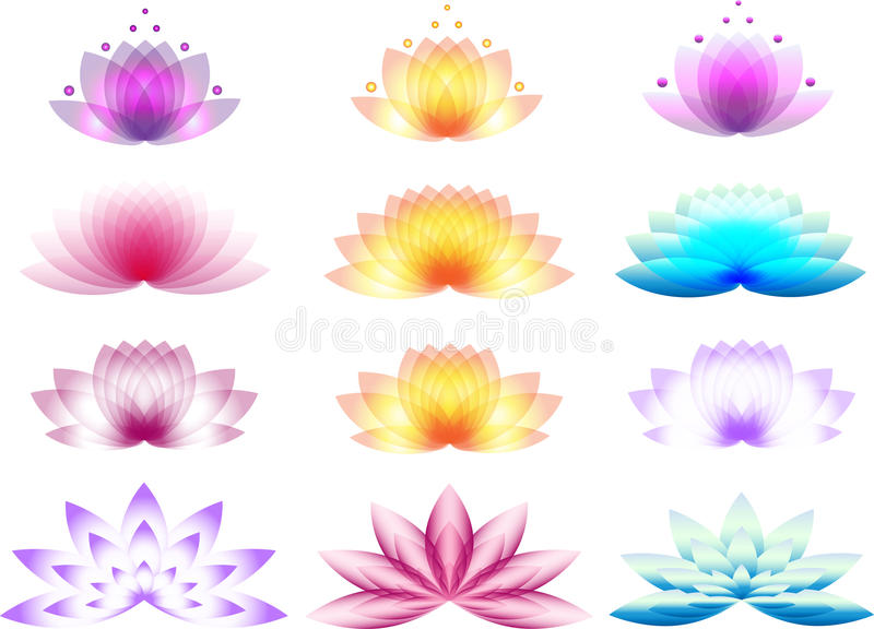 Lotus Logos stock illustrationer