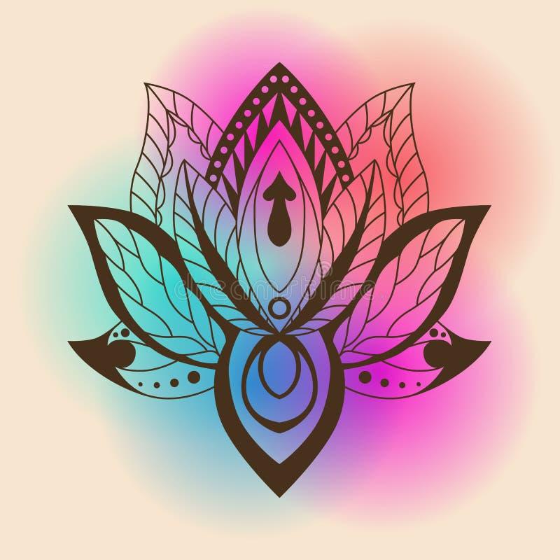 Lotus Mandala Vektor dekoratives Lotus, ethnisches zentang Verzierung lizenzfreie abbildung