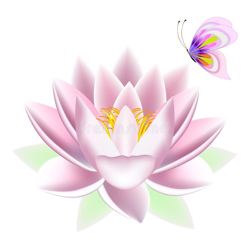 Lotus med en fjäril royaltyfri illustrationer