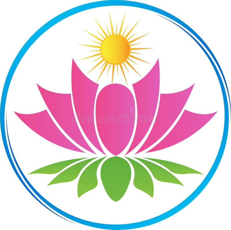 Lotus med solen stock illustrationer