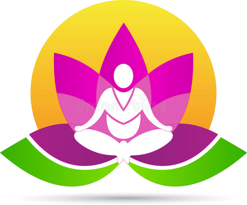 Lotus meditationyoga vektor illustrationer