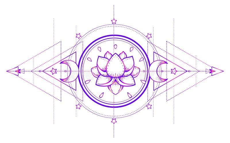 Lotus och sakral geometri Ayurveda symbol av harmoni och balanc stock illustrationer