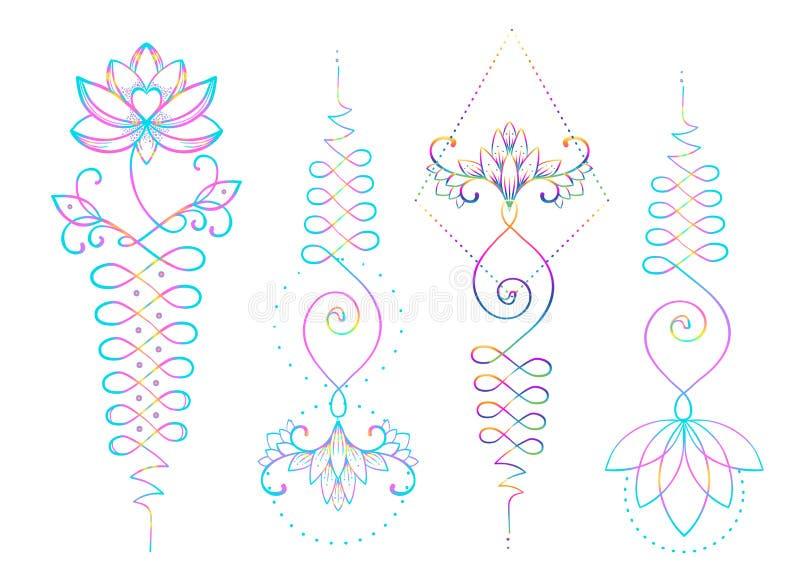 Lotus och sakral geometri Unamole hinduiskt symbol av vishet och PA vektor illustrationer