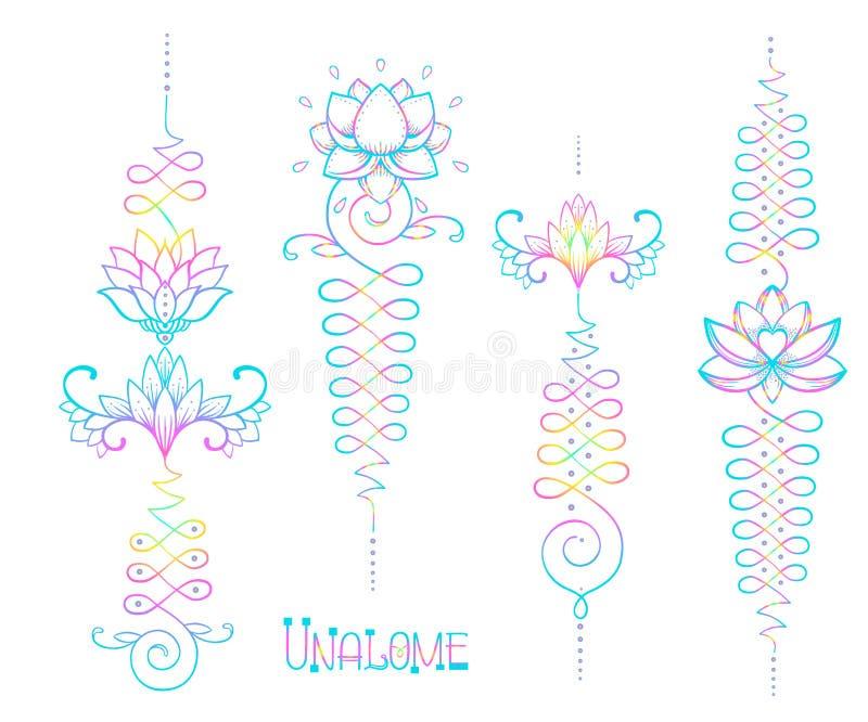 Lotus och sakral geometri Unamole hinduiskt symbol av vishet och PA royaltyfri illustrationer