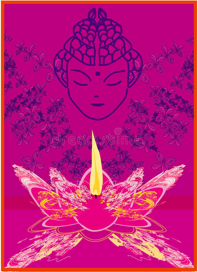 Download Lotus Oil Lamp with Buddha stock vector. Image of illuminate - 30014238