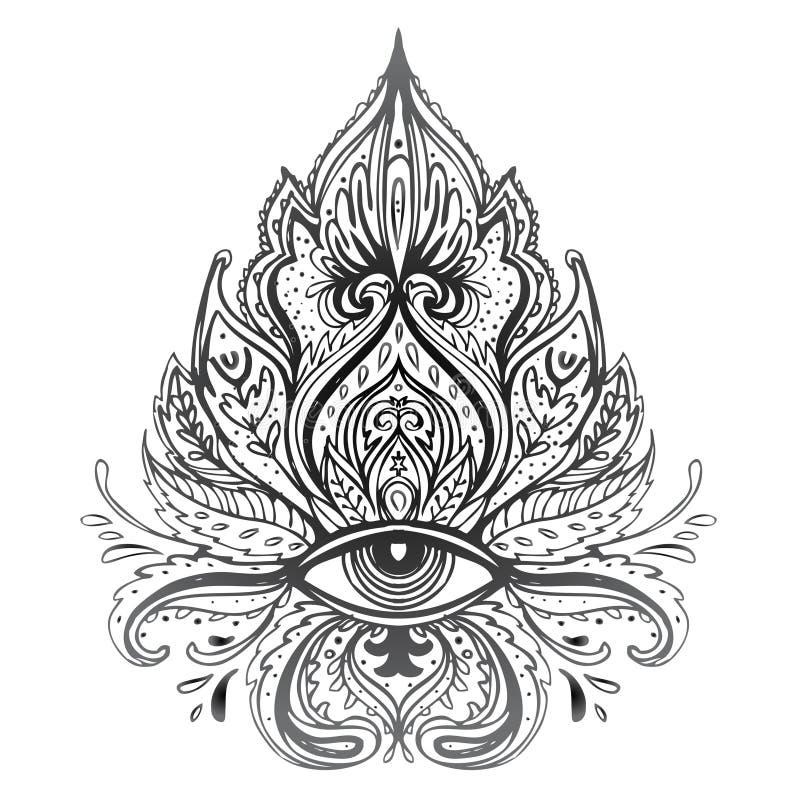 Lotus, ojo, geometría sagrada Símbolo de Ayurveda de la armonía y de la balanza, y universo Diseño de la carne del tatuaje, logot ilustración del vector