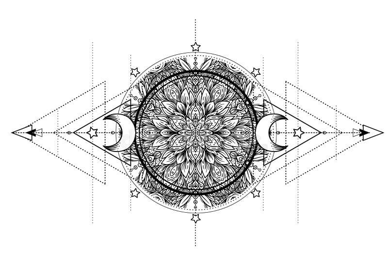Lotus, Oog, Heilige Meetkunde Ayurvedasymbool van harmonie en bala stock illustratie