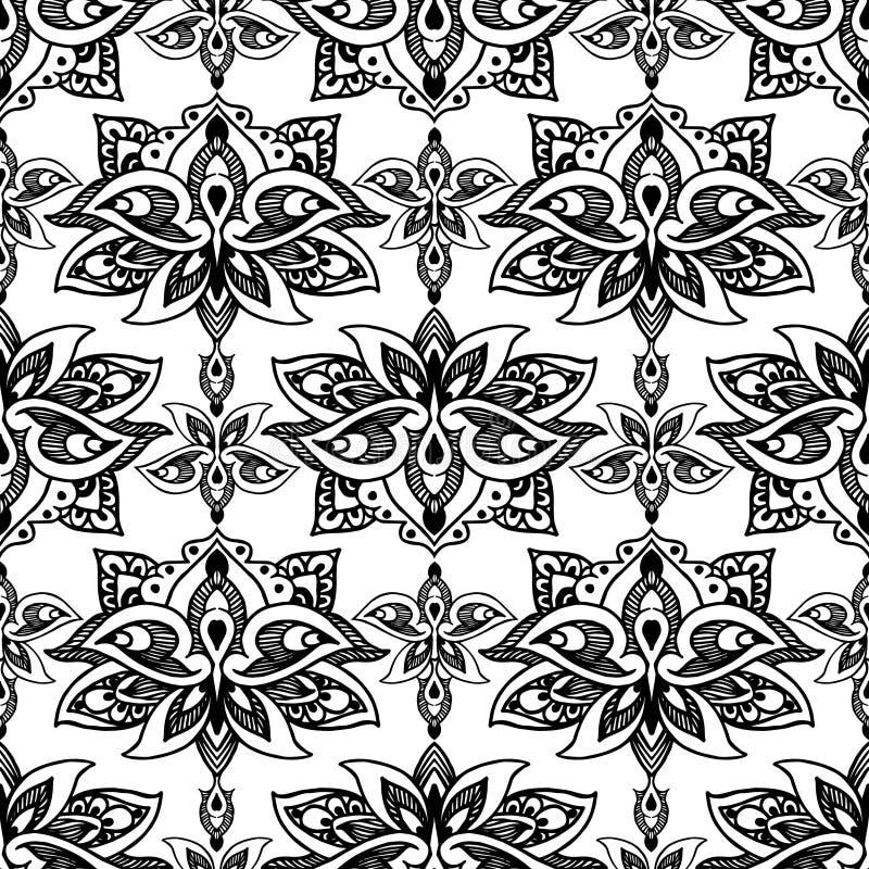 Lotus, oostelijk vector naadloos patroon met Paisley royalty-vrije illustratie