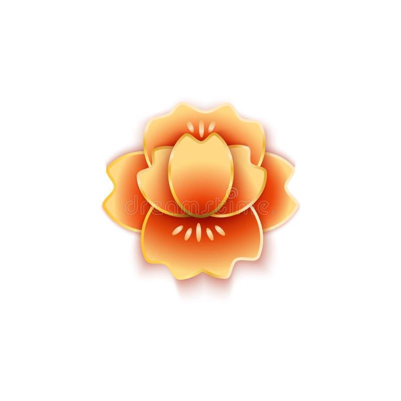 Lotus ou a flor da peônia no corte do estilo chinês da ilustração de papel do vetor isolaram-se ilustração stock