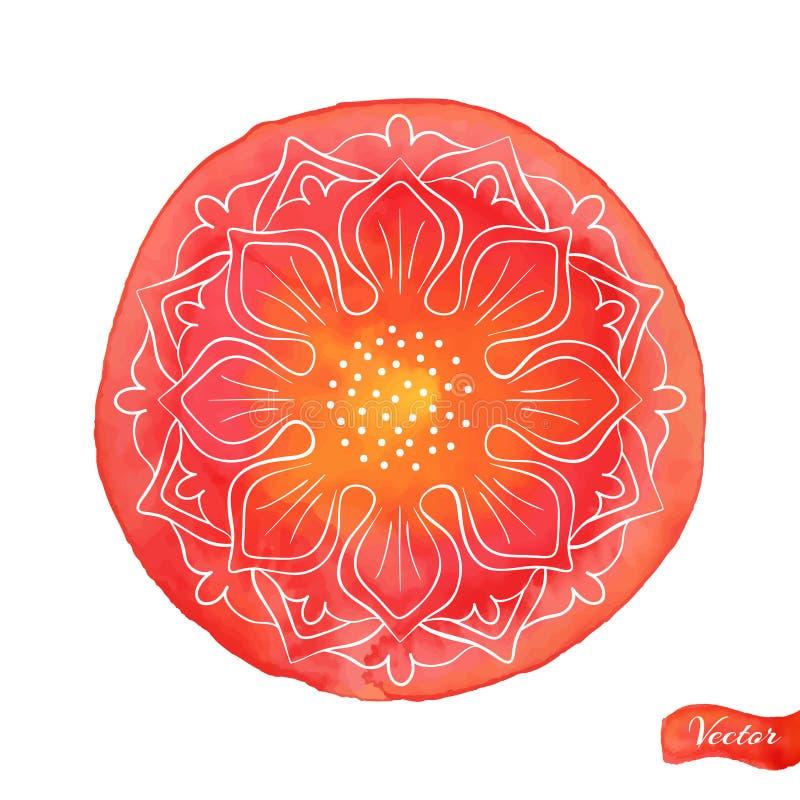 Lotus Outlines On Red ilustração royalty free