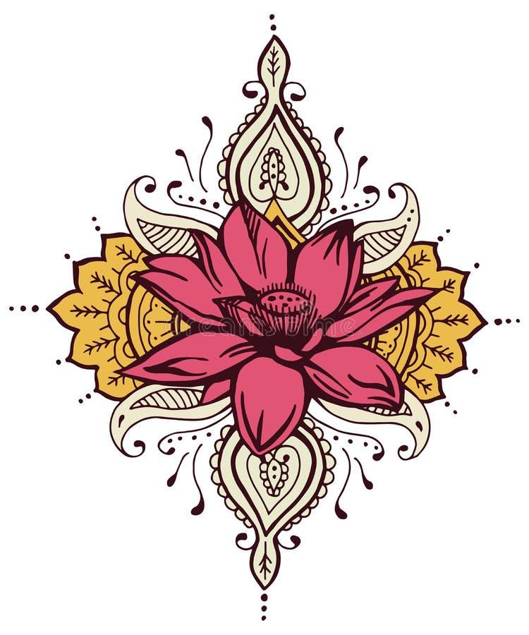 Lotus Paisley Henna Design stock de ilustración