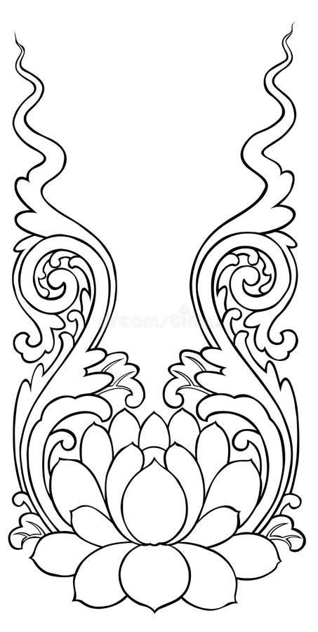Lotus peignant le style chinois illustration de vecteur