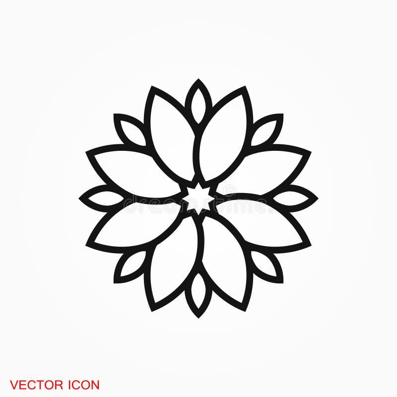 Lotus-pictogramembleem, illustratie, vectortekensymbool voor ontwerp stock foto's