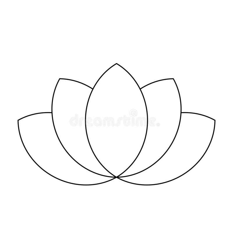 Lotus plant symbol. Spa and wellness theme design element. Flat black thin outline vector illustration.  stock illustration