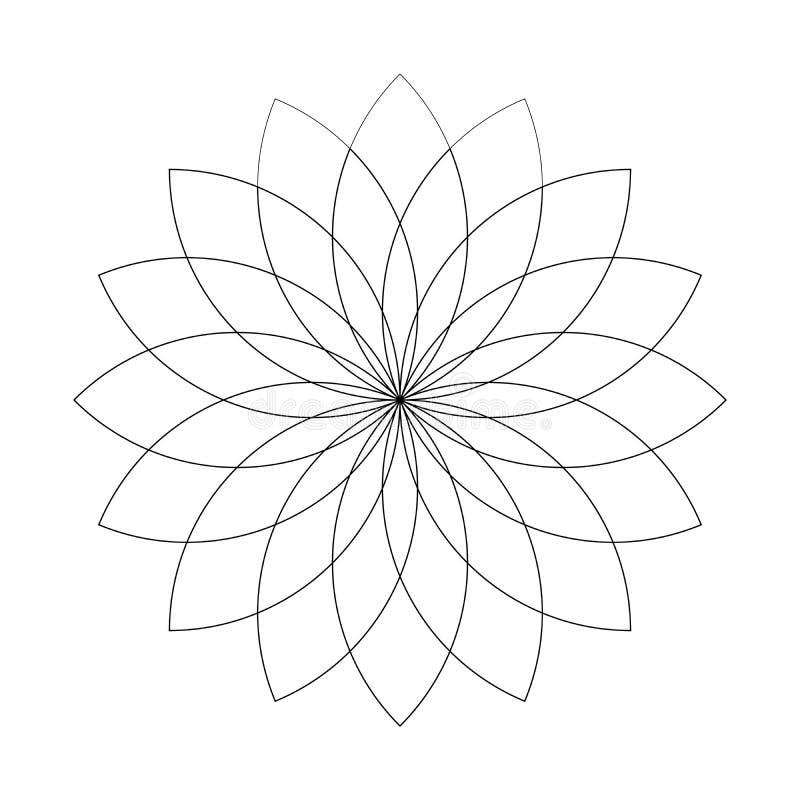 Lotus plant symbol. Spa and wellness theme design element. Flat black thin outline vector illustration.  vector illustration
