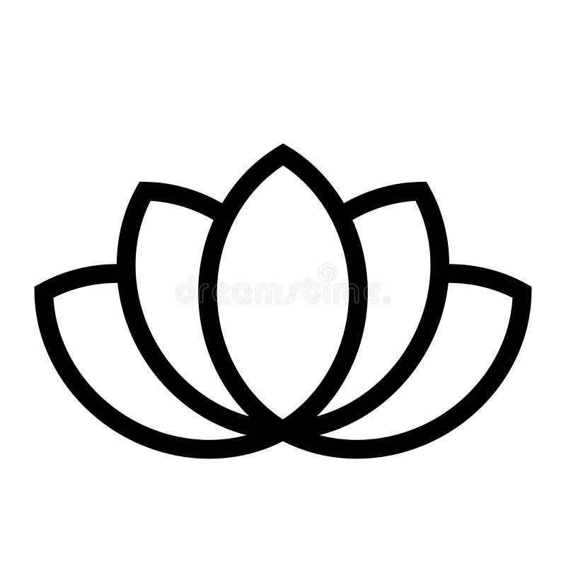 Lotus plant symbol. Spa and wellness theme design element. Flat black vector illustration.  vector illustration