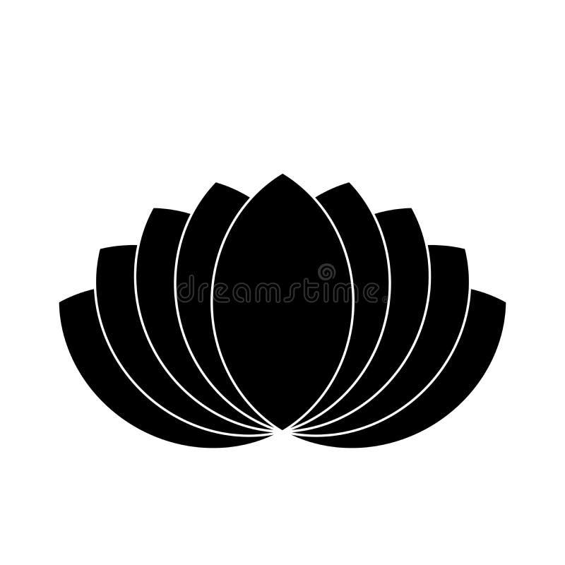 Lotus plant symbol. Spa and wellness theme design element. Flat black vector illustration.  stock illustration