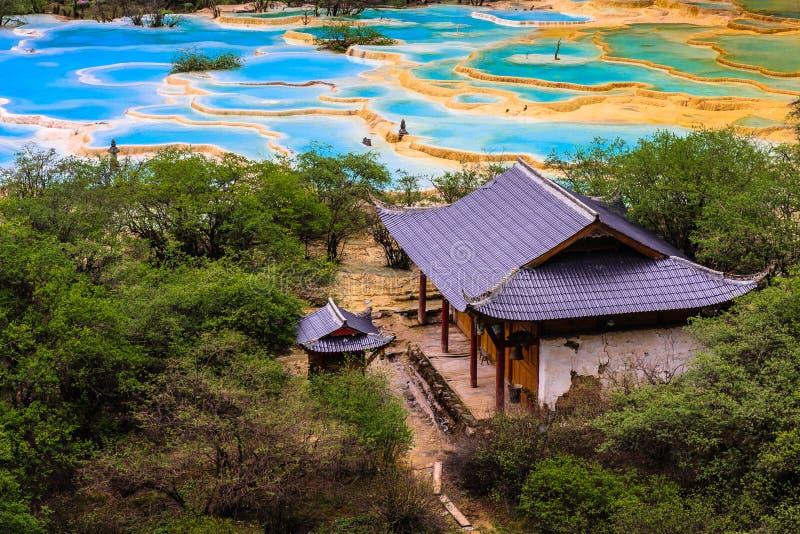The Lotus Pond next to the temple stock photos