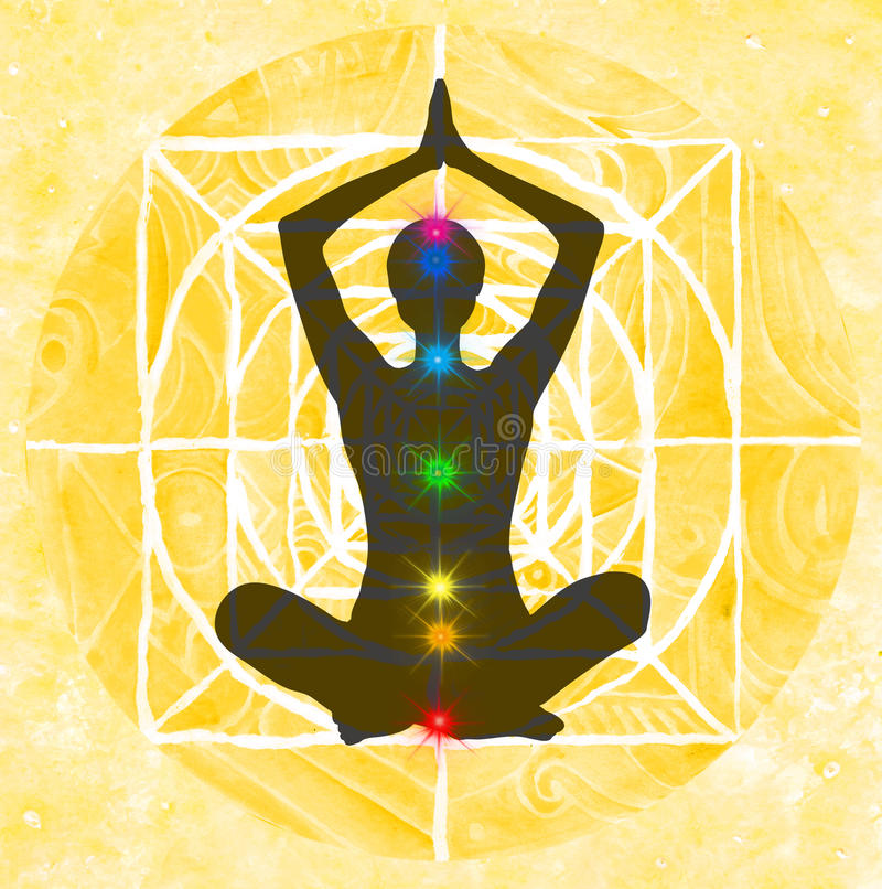Lotus pose and chakra points royalty free illustration