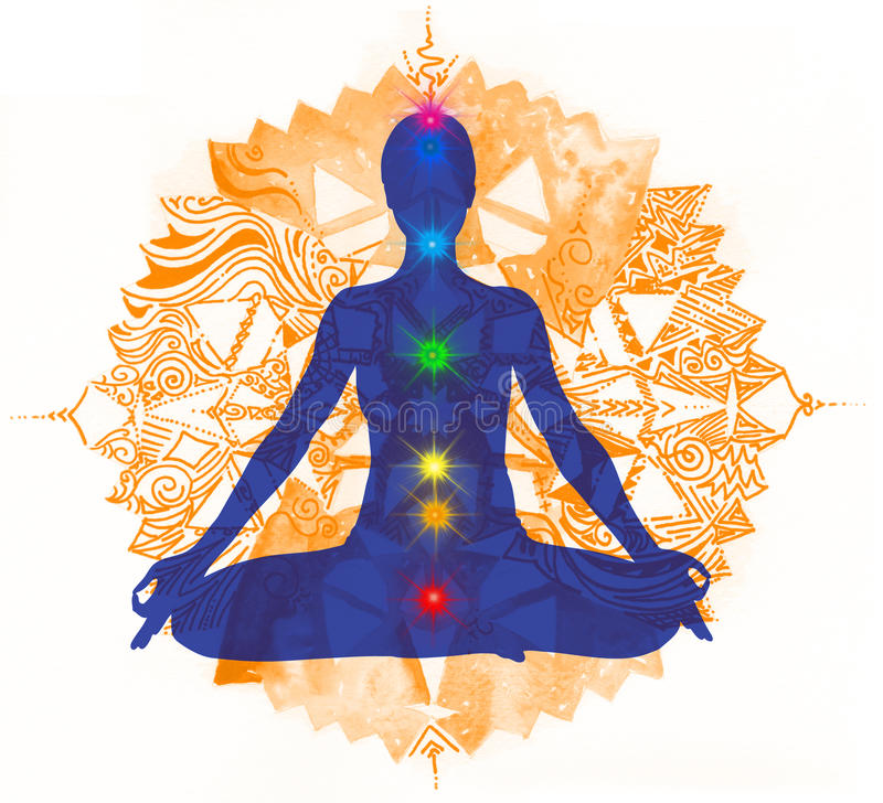 Lotus pose and chakra points 2 vector illustration
