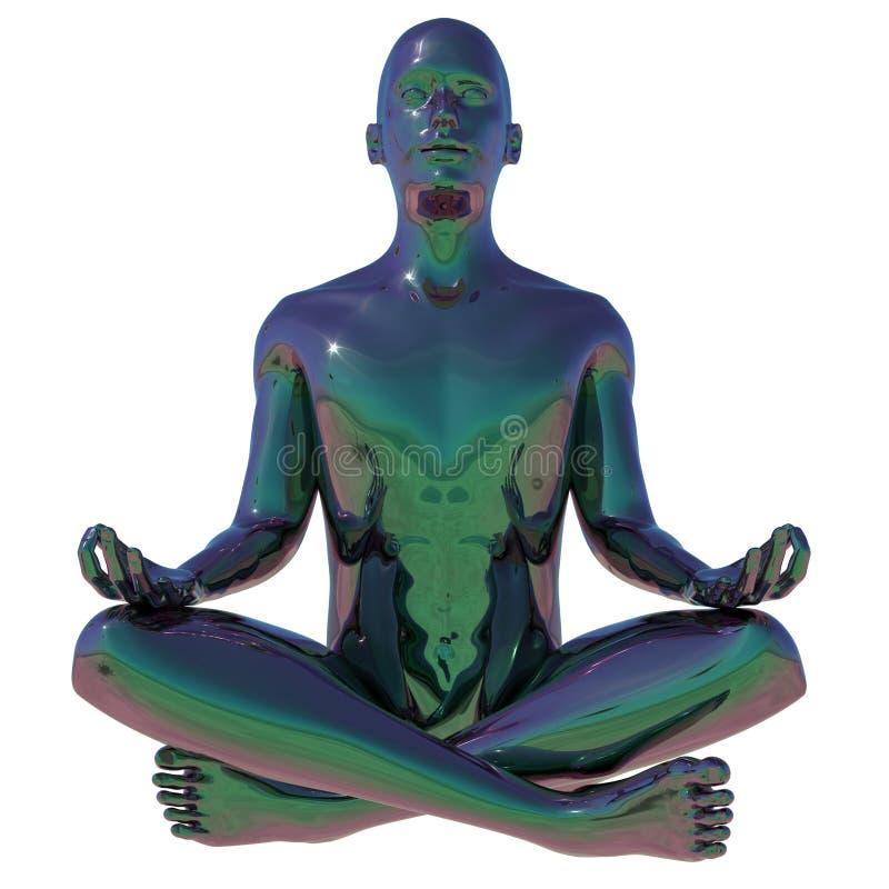 Lotus pose character figure stylized polished metallic black stock illustration