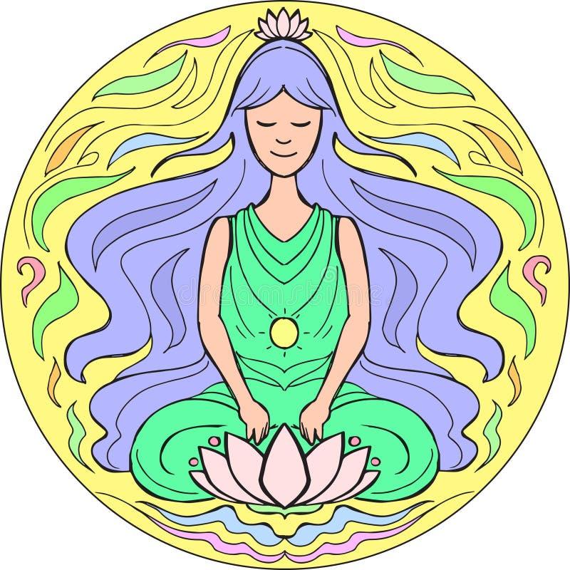 Lotus pose Mandala royalty free illustration