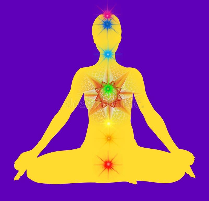 Yoga pose and chakra points mandala stock illustration