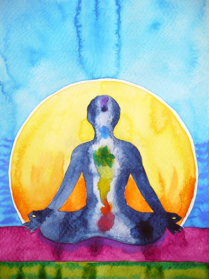Lotus pose yoga chakra symbol, reiki therapy watercolor painting royalty free illustration