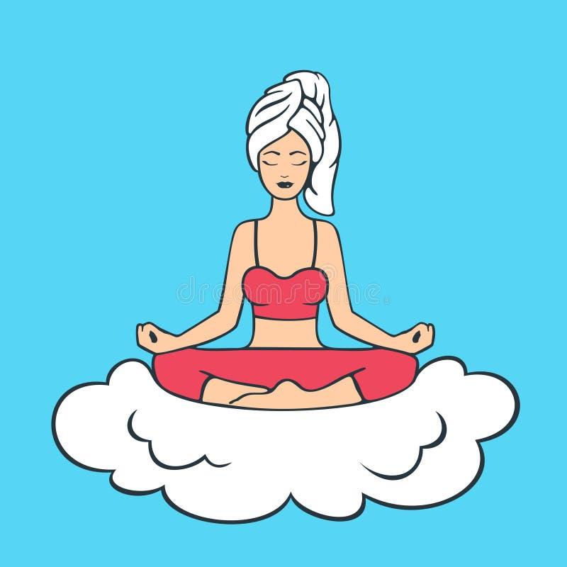 Lotus Pose Yoga Girl. Vector Illustration eps 8 file format royalty free illustration
