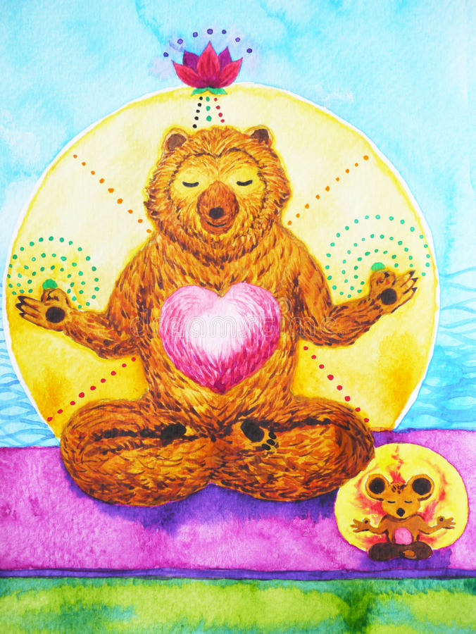 Lotus Pose Yoga, watercolor painting, chakra power, cute big bear and rat cartoon design illustration stock illustration