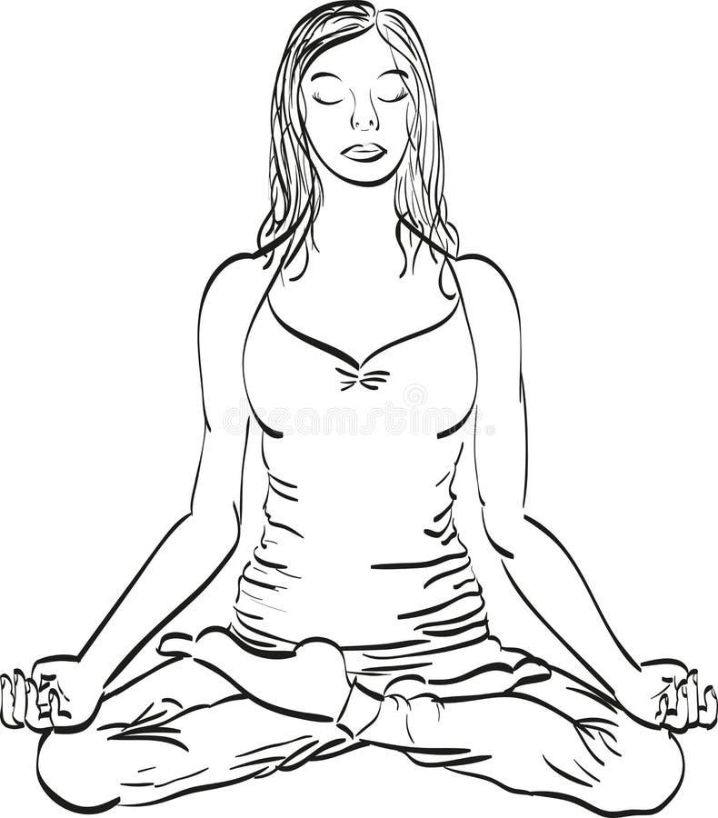 Lotus poserar yoga stock illustrationer