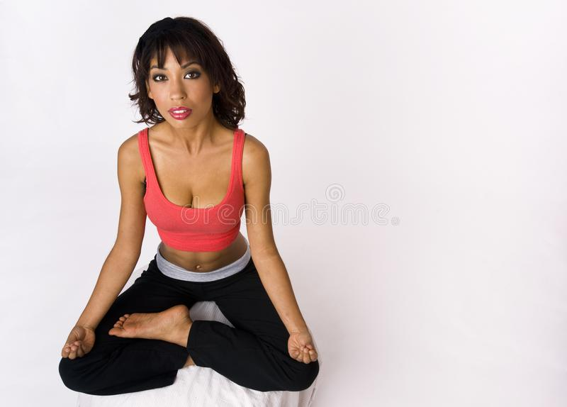 Young Woman Sitting Lotus Yoga Meditation Position