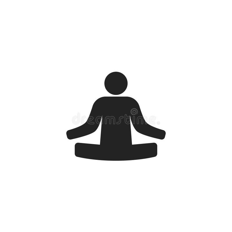 Lotus Position Glyph Vector Icon, symbole ou logo illustration de vecteur