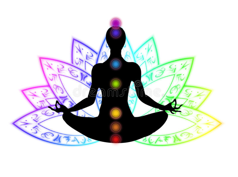 Lotus position meditation. An illustrated silhouette of a woman body meditating in the lotus position royalty free stock photo