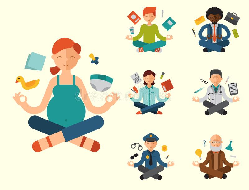 Lotus position yoga pose meditation art relax people relax isolated on white background design concept character. Happiness vector illustration. Healthy royalty free illustration