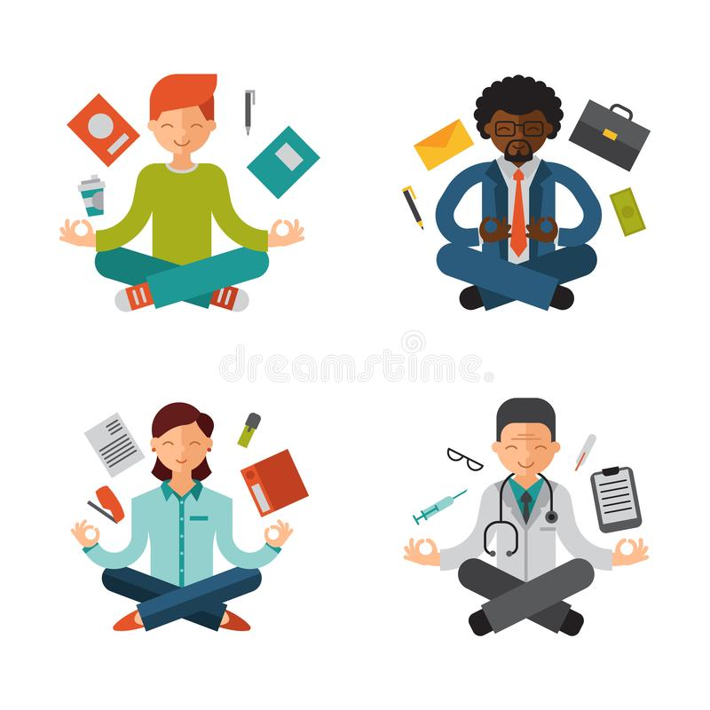Lotus position yoga pose meditation art relax people relax isolated on white background design concept character. Happiness vector illustration. Healthy vector illustration