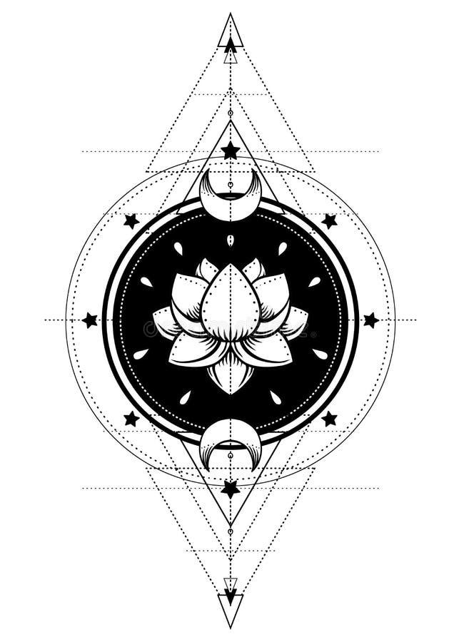 Lotus and Sacred Geometry. Ayurveda symbol of harmony and balance, and universe. Tattoo flesh design, yoga logo. Boho print, post royalty free illustration