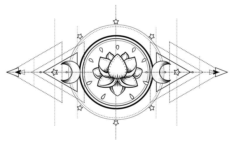 Lotus and Sacred Geometry. Ayurveda symbol of harmony and balance, and universe. Tattoo flesh design, yoga logo. Boho print, post. Er, t-shirt textile. Anti stock illustration
