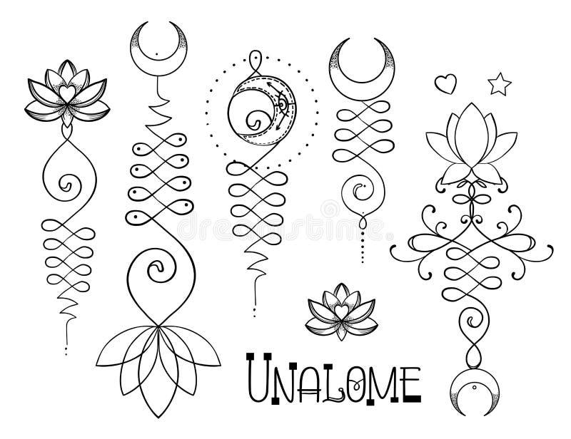 Lotus and Sacred Geometry. Unamole hindu symbol of wisdom and pa royalty free illustration