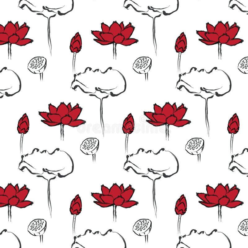 Download Lotus Seamless Pattern stock vector. Image of design - 33977256