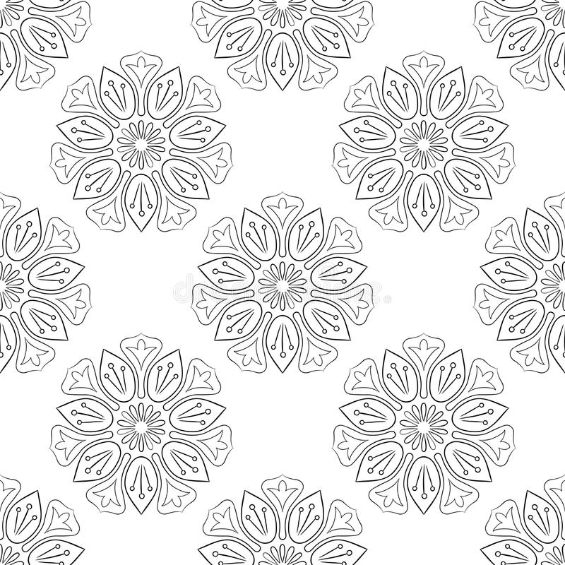 Lotus Seamless Pattern monocromática ilustração stock