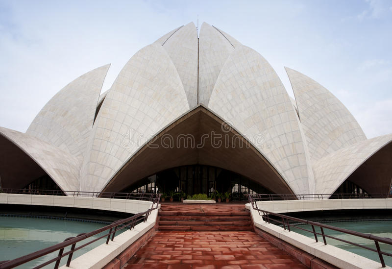 Lotus shape top on Baha'i temple in New Delhi. royalty free stock photography