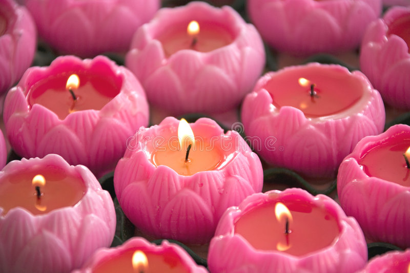 Lotus Shaped Candles royalty free stock photo