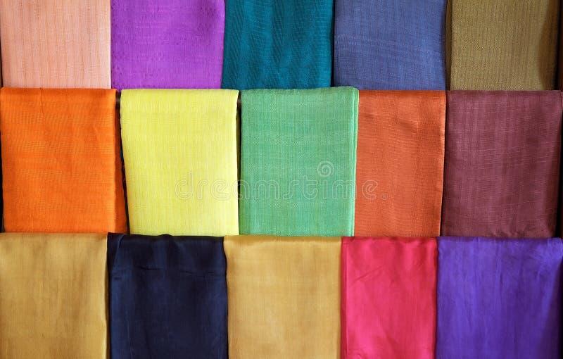 Lotus and silk textile in Myanmar royalty free stock image