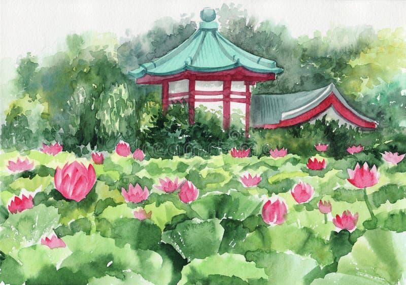 Lotus sjö och pagod stock illustrationer