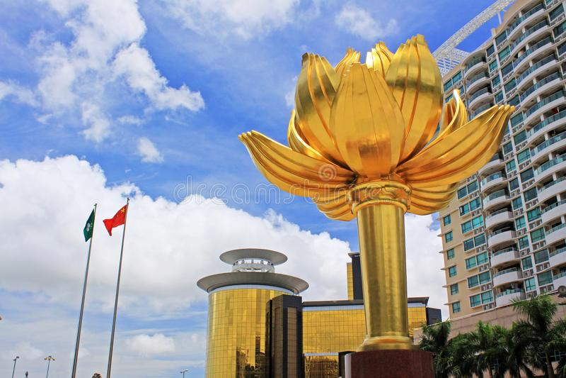 Lotus Square de oro, Macao, China imágenes de archivo libres de regalías