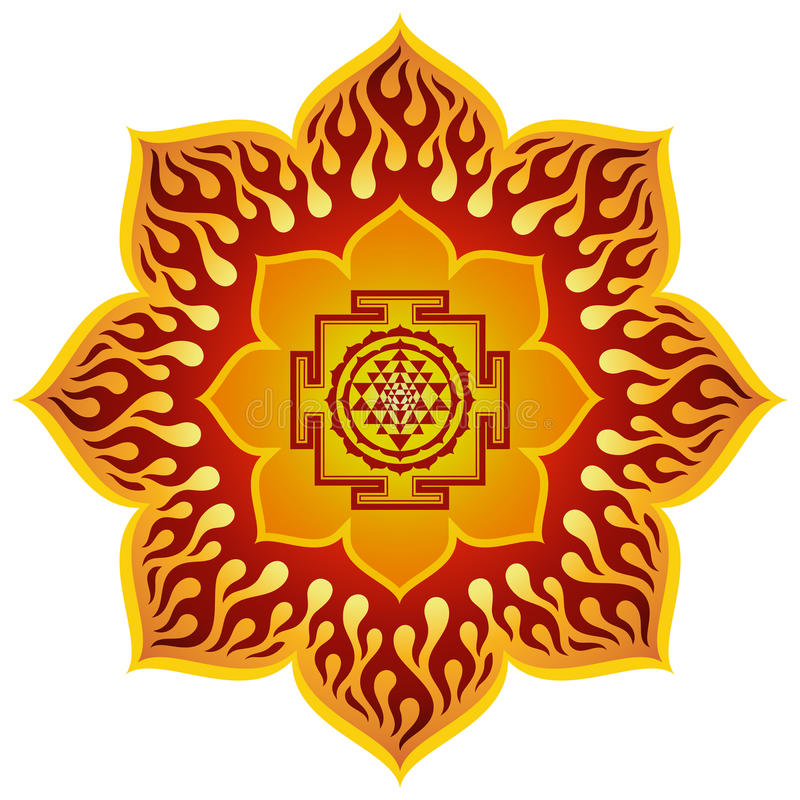 Lotus Sri Yantra Design stock illustration