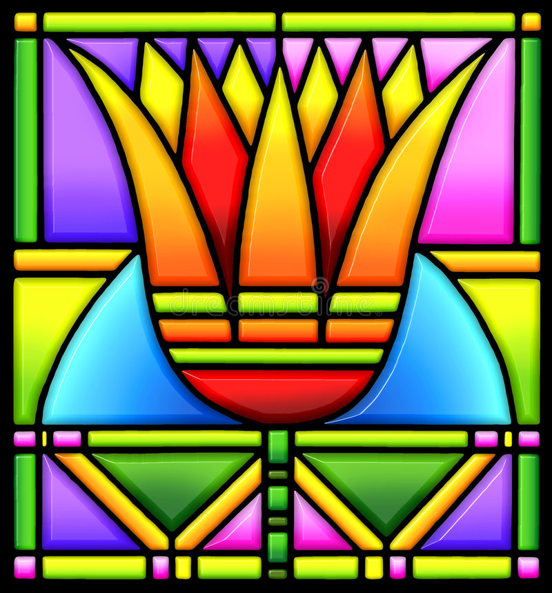 Lotus in stained glass. A beautiful 3-D illustration of bold art deco lotus blossum that appears to be done in stained glass vector illustration