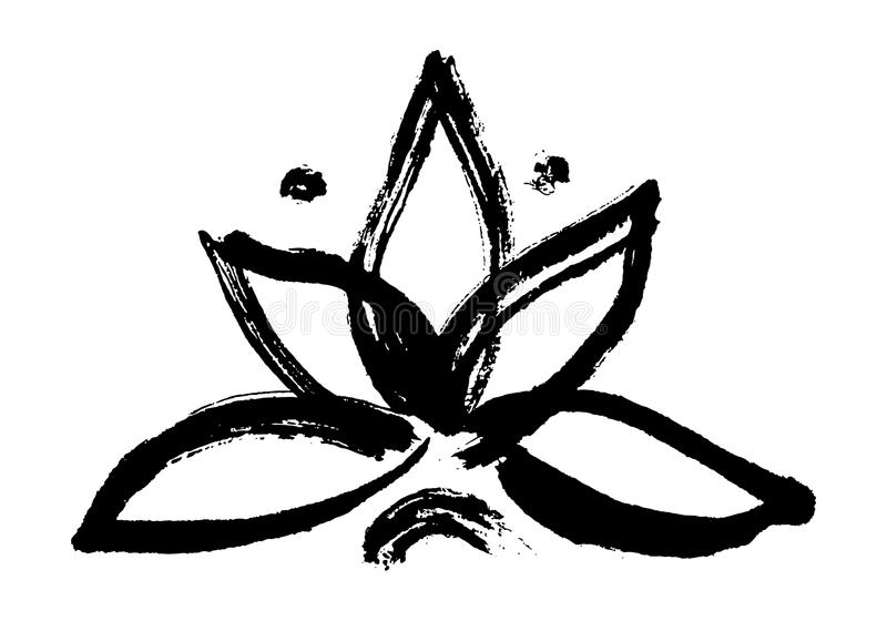 Yoga symbol lotus. Lotus symbol. Handmade ink painting royalty free illustration